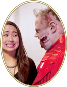 Photo of girl looking warily at zombie