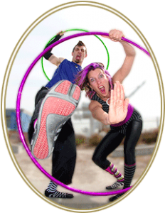 Photos of couple with hula hoops