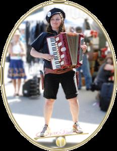 Photo of woman with accordion on balance board