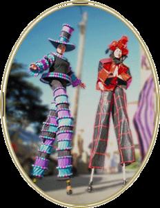 Photo of two people walking on stilts