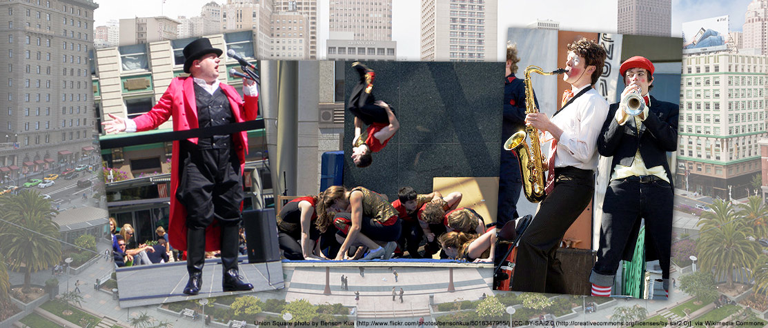 Photo of Picklewater performers and San Francisco's Union Square