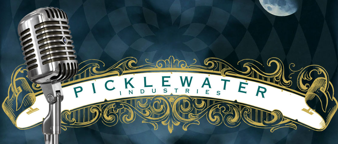 Photo of a microphone in front of the Picklewater Industries Logo